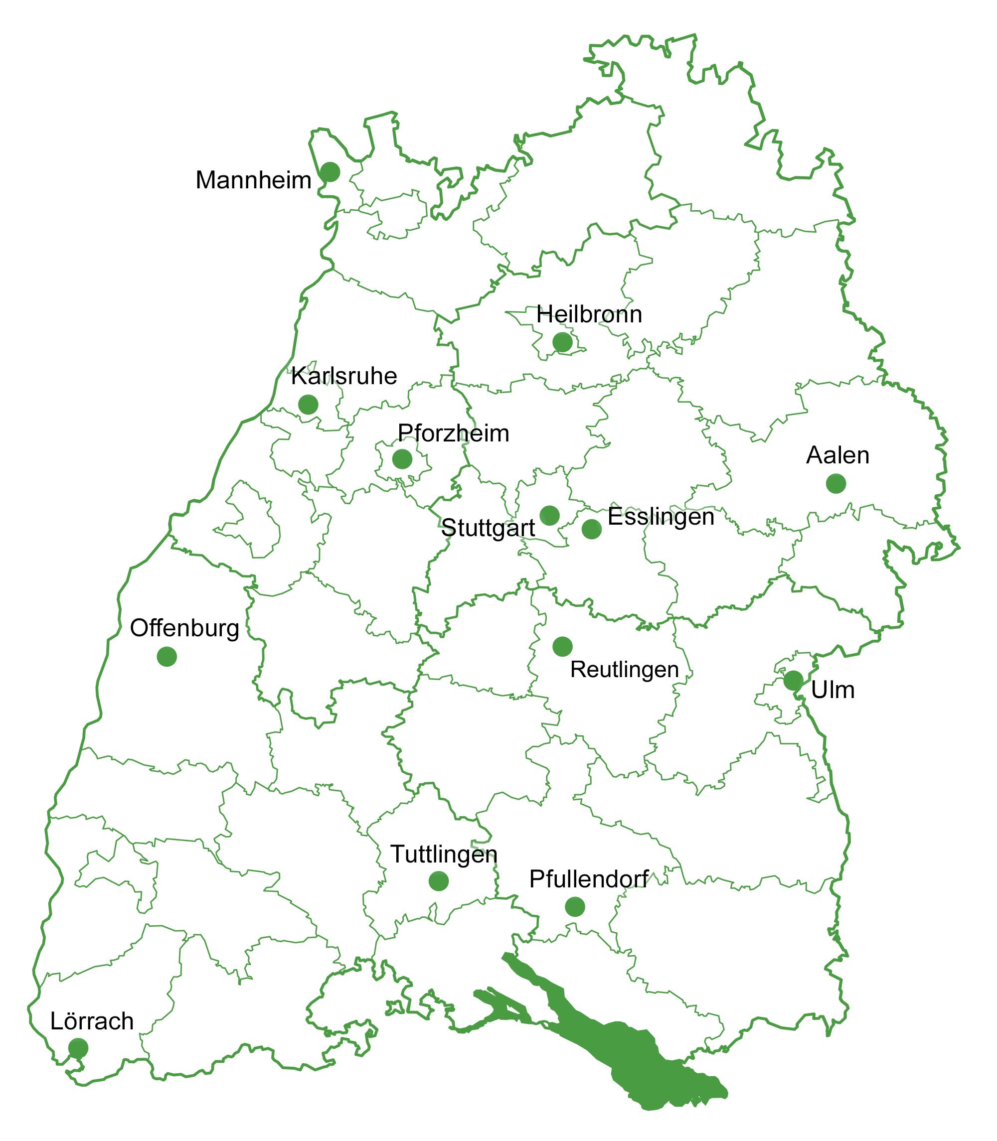 Karte der Regionalbüros